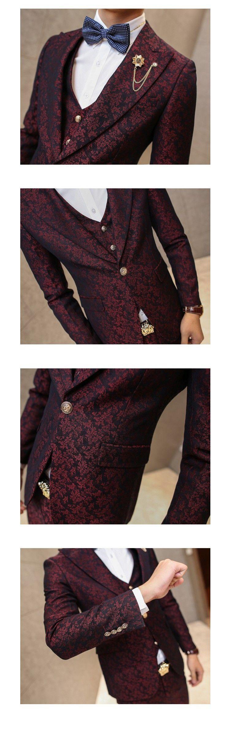 1a0ea2dcd34 MAUCHLEY Prom Mens Suit With Pants Burgundy Floral Jacquard Wedding Suits  for Men Slim Fit 3 Pieces   Set (Jacket+Vest+Pants)