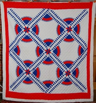 Dazzling Vintage New York Beauty Red White Blue Patriotic Antique Quilt | eBay