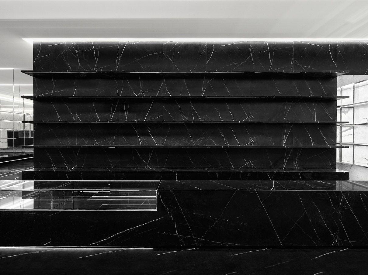 54a12fde3d4 Black marble built-in shelves, the Saint Laurent store in Shanghai _ ...