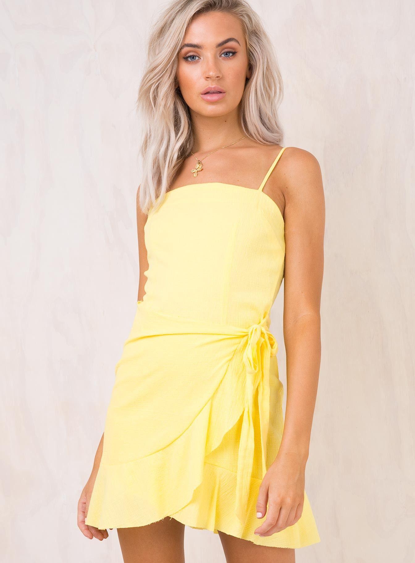 1576bd7d9a Rosanna+Mini+Dress+Lemon+-+ Mini+dress Exclusive+to+Princess+Polly  Straight+neckline Wrap+style+skirt+with+tie+at+side  Adjustable+shoulder+straps ...