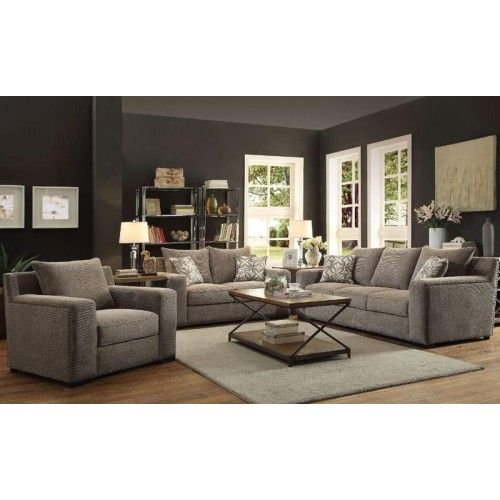 Best Acme Furniture Ushury Gray Chenille 3 Piece Living Room 400 x 300