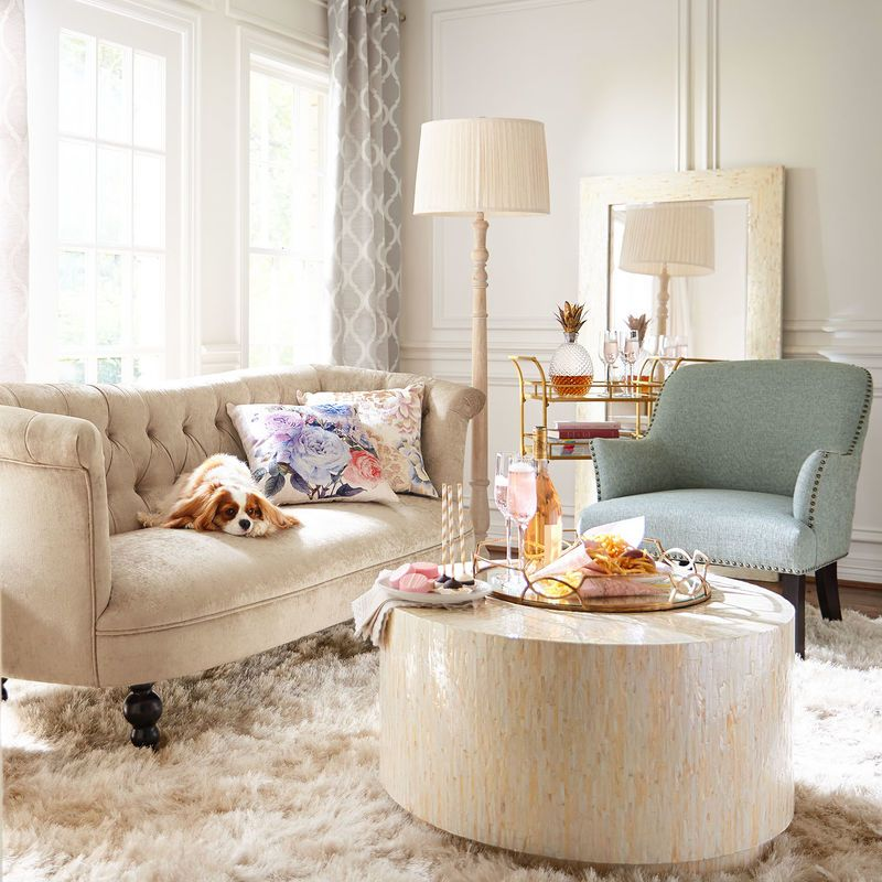pier 1 living room rugs%0A Colette Sandshell Crushed Velvet Sofa