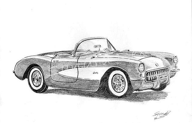dibujos de carros a lapiz comvertible