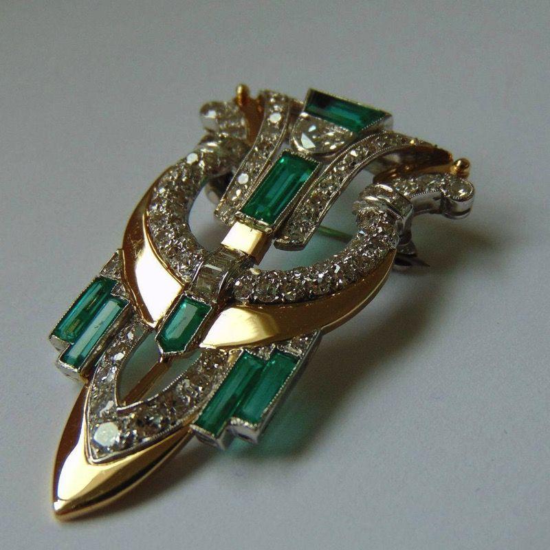 Birthstone Brooch Vintage Art Deco Style Brooch