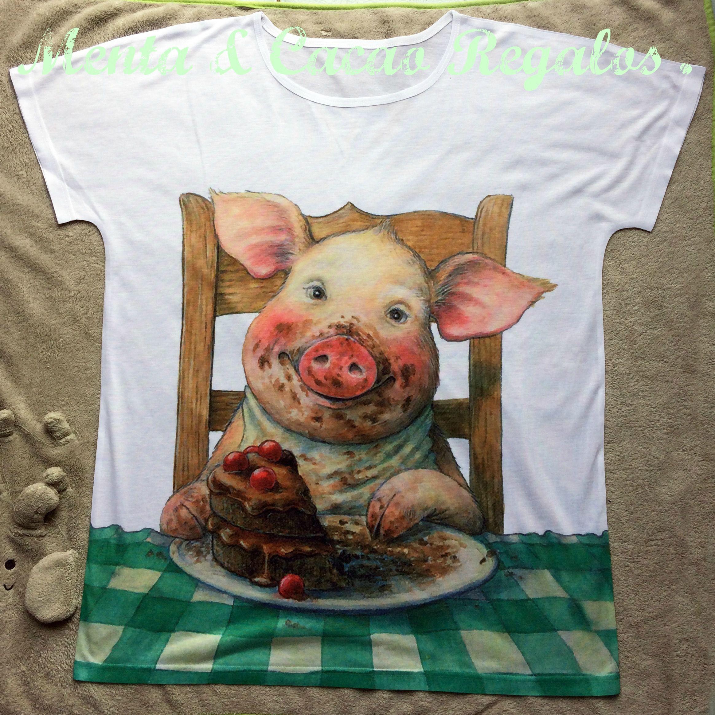 Camiseta ilustración cerdito