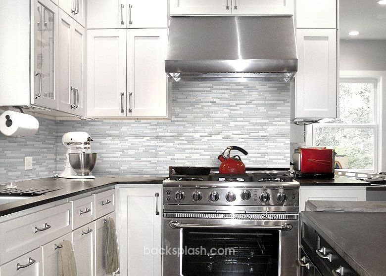Attractive Kitchen Backsplash Kitchen Tile Backsplash Ideas With White Cabinets White  Marble Glass Backsplash Tile Black Countertop White Cabinet : Kitchen Tile  ...