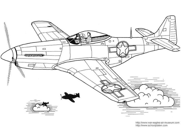 Coloring Page P 51 Mustang Airplane Coloring Pages Coloring