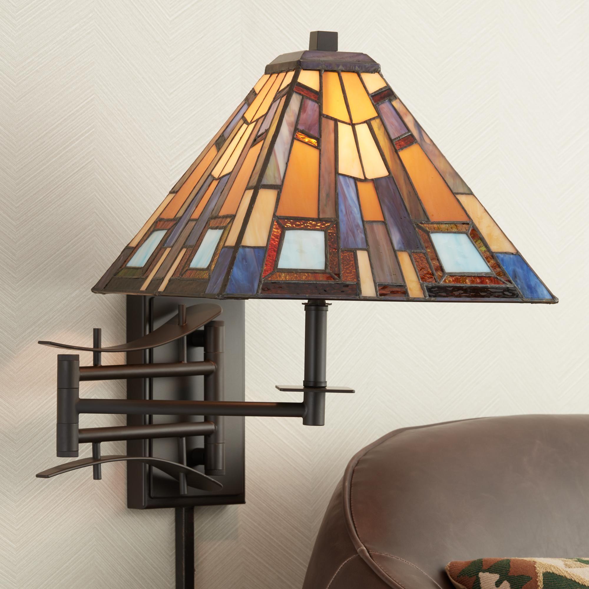 Jewel Tone Tiffany Style Plug In Swing Arm Wall Lamp