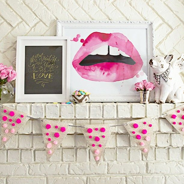 DIY Pom Pom Bunting from Glitterguide | Lip print: http://www.etsy.com/listing/107710053/8-x-10-lips-watercolor-giclee-print