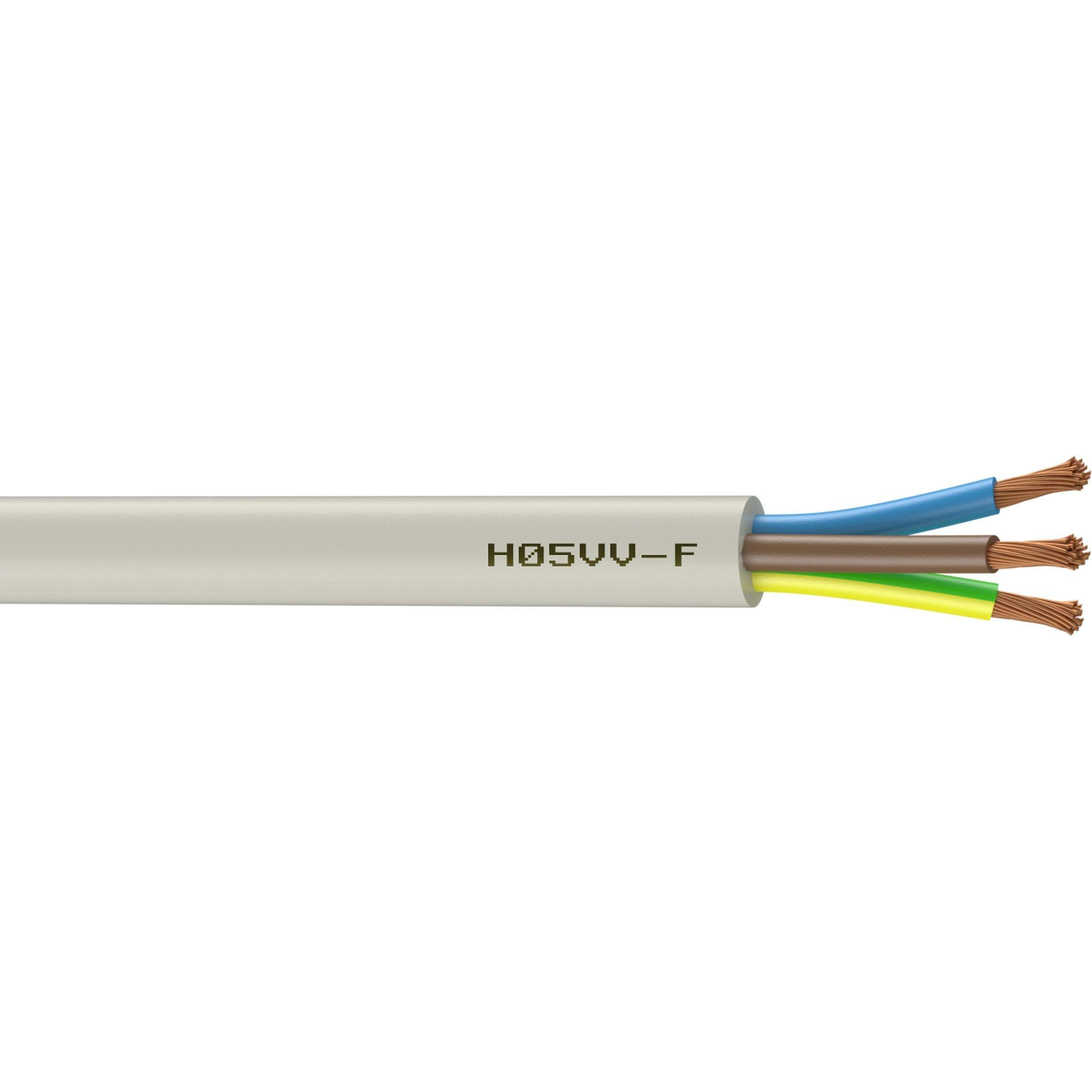 Cable Electrique 3 G 1 5 Mm Ho5vvf L 3 M Blanc Cable Electrique Electrique Et Cuisiniere A Induction