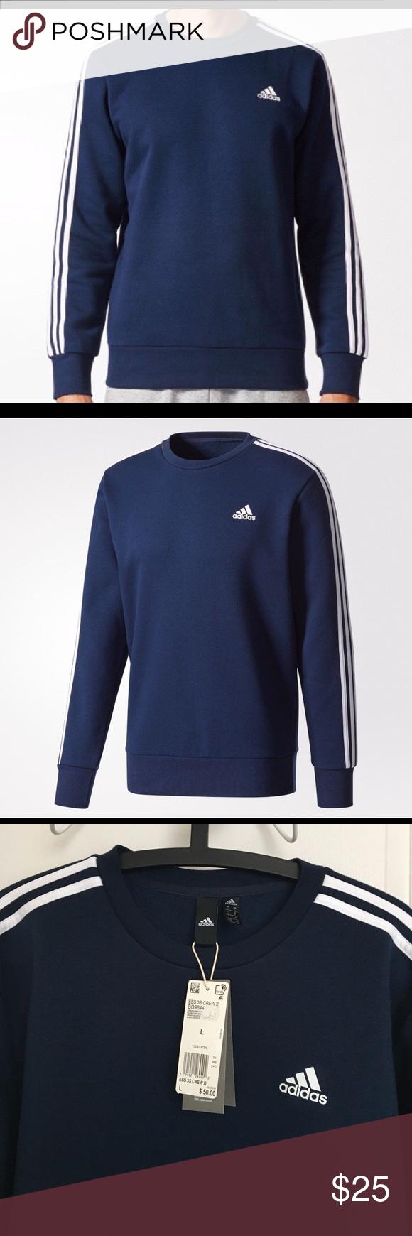 Men S Adidas 3 Stripes Sweatshirt Navy L Striped Sweatshirts Adidas Men Long Sleeve Tshirt Men [ 1740 x 580 Pixel ]