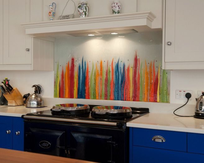 colourful splashback kitchens Pinterest Aga Glass and Kitchens