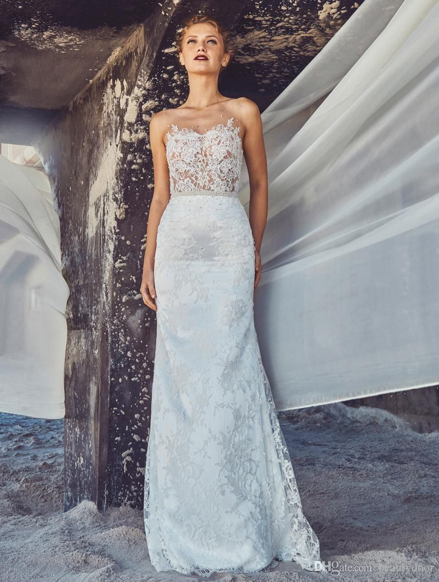 Vintage Chantilly Lace Wedding Dresses Mermaid Dress Sheer Tulle ...