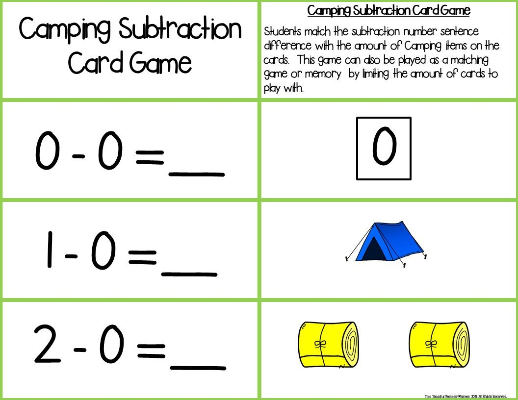 Camping Add Amp Subtract 0 10 Number Sentence Match With