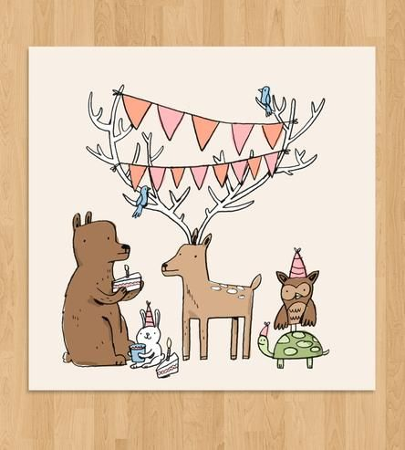 Woodland Creatures Party Print | This archival 12'' x 12'' print features a hand-drawn gatherin... | Posters