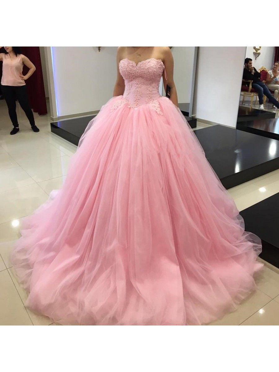 Ball Gown Sweeteart Pink Lace Tulle Prom Dresses Party Evening Gowns ...