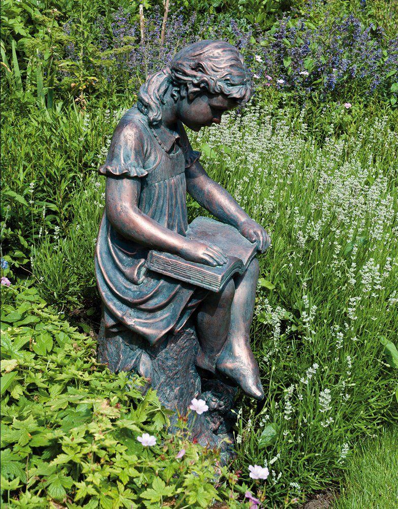 Large Bronze Effect Garden Statues Reading Girl Figurine Sculpture Garden Statues Reading Garden Garden Art