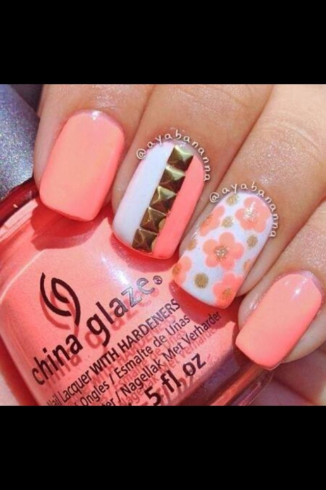 Stud & Floral Coral Nail Art - Stud & Floral Coral Nail Art Crazy For Coral Pinterest Coral