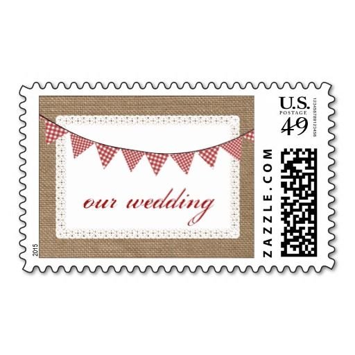 Red Gingham Bunting Burlap Inspired  Wedding Postage Stamp