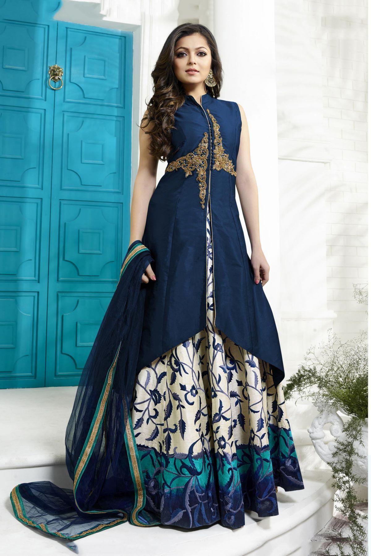 Bollywood Drashti Dhami Silk Party Wear Lehenga Suit In Navy Blue ...