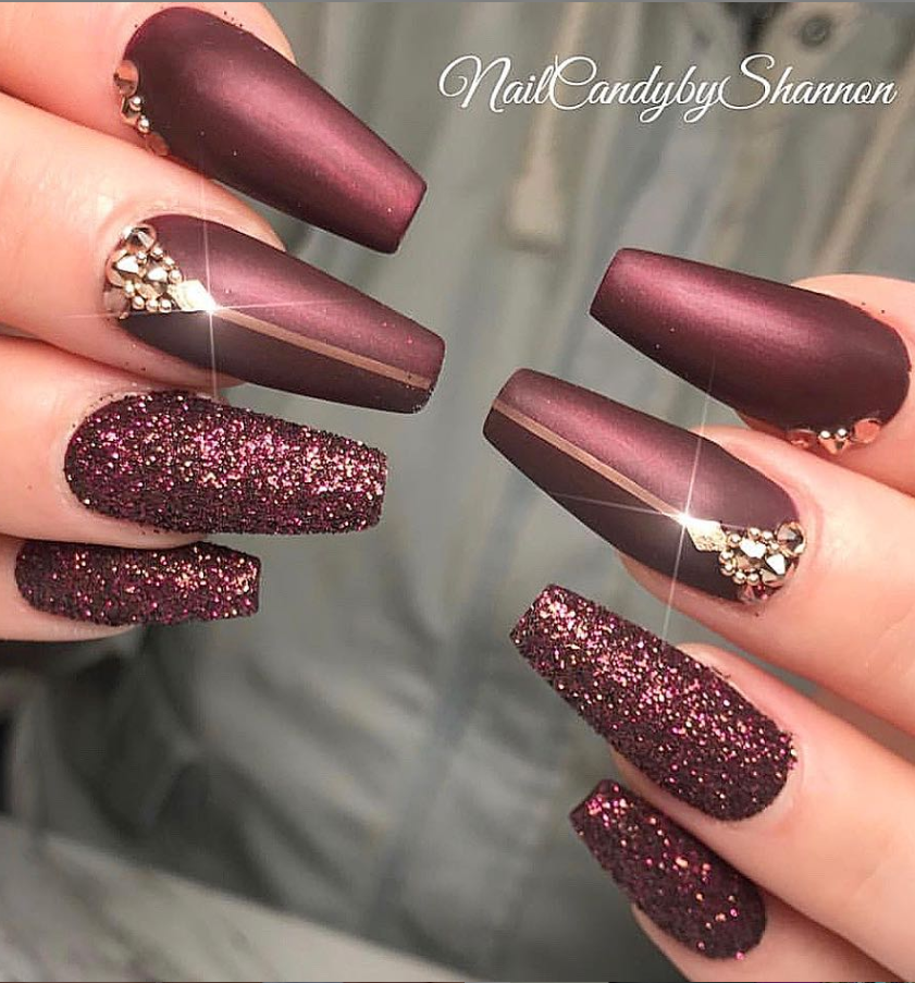 The Number Of Designs Involving Burgundy Is Also Quite Impressive Such As Matte Burgundy Nails Acry Burgundy Nail Designs Burgundy Nails Coffin Nails Designs