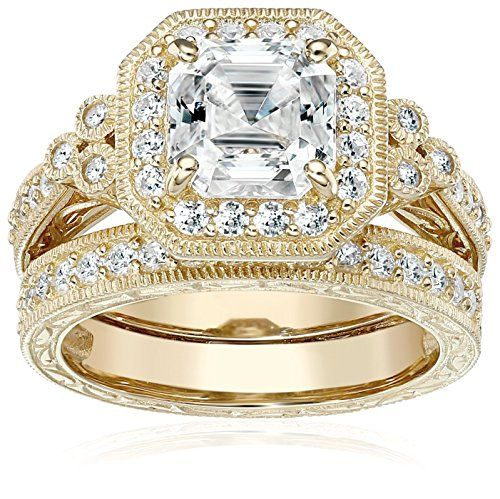 Yellow-Gold-Plated Sterling Silver Swarovski Zirconia Asscher Cut Antique Ring Set, Size 5