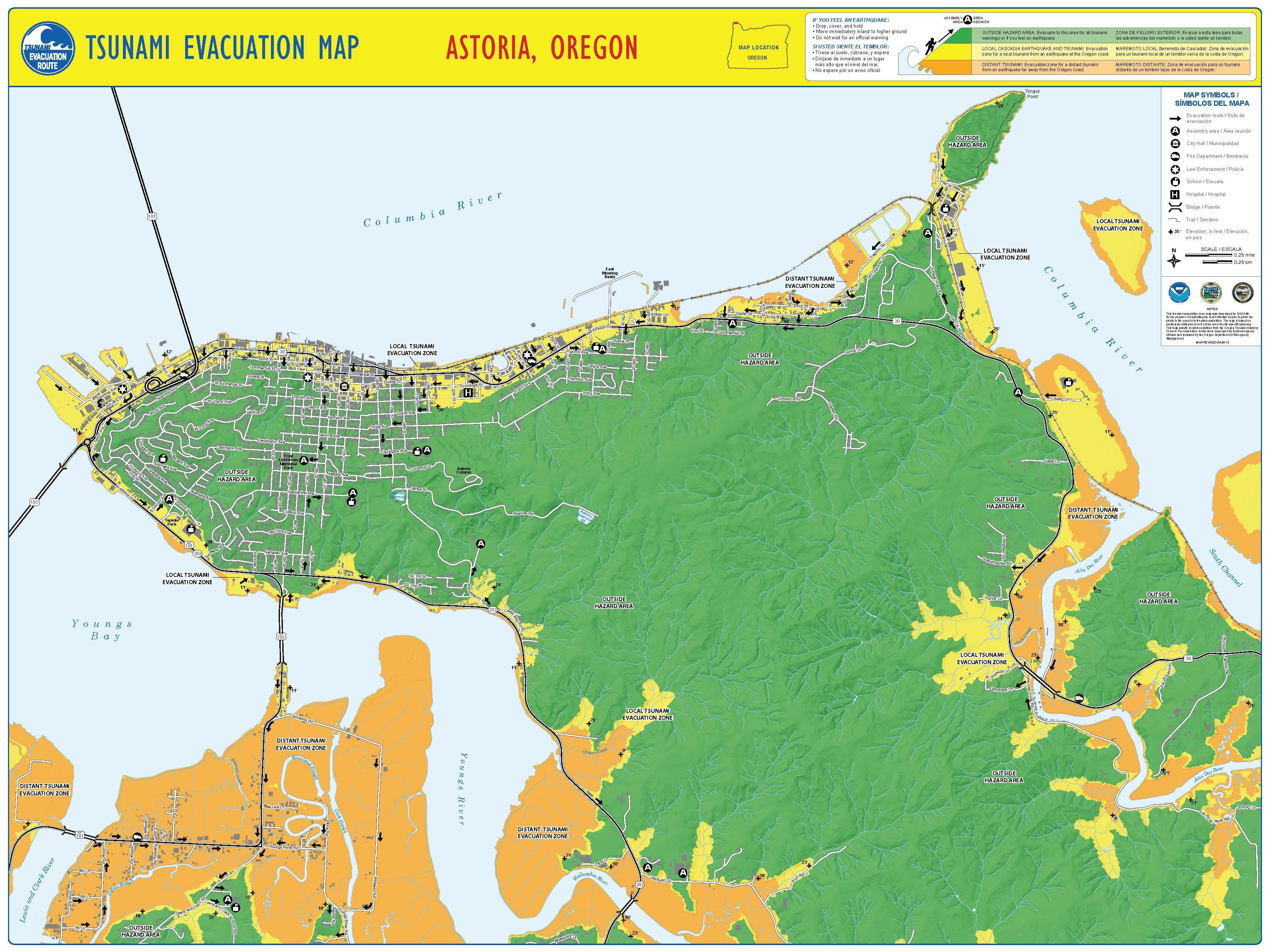 Tsunami Evacuation Map Astoria Oregon By The Oregon Department Of