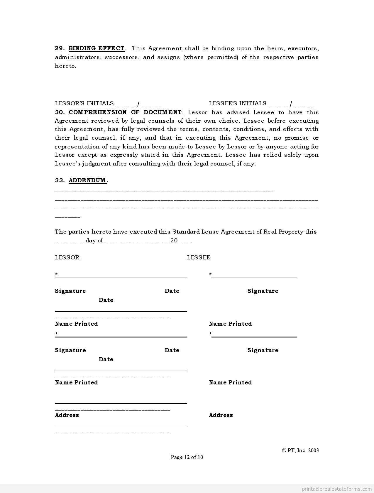 Free Printable Renters Agreement Sample Printable Standard Lease Agreement Form  Sample Real Estate .