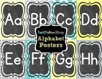 Yellow Classroom Decor : Teal yellow and gray alphabet postersprints 2 per page. classroom