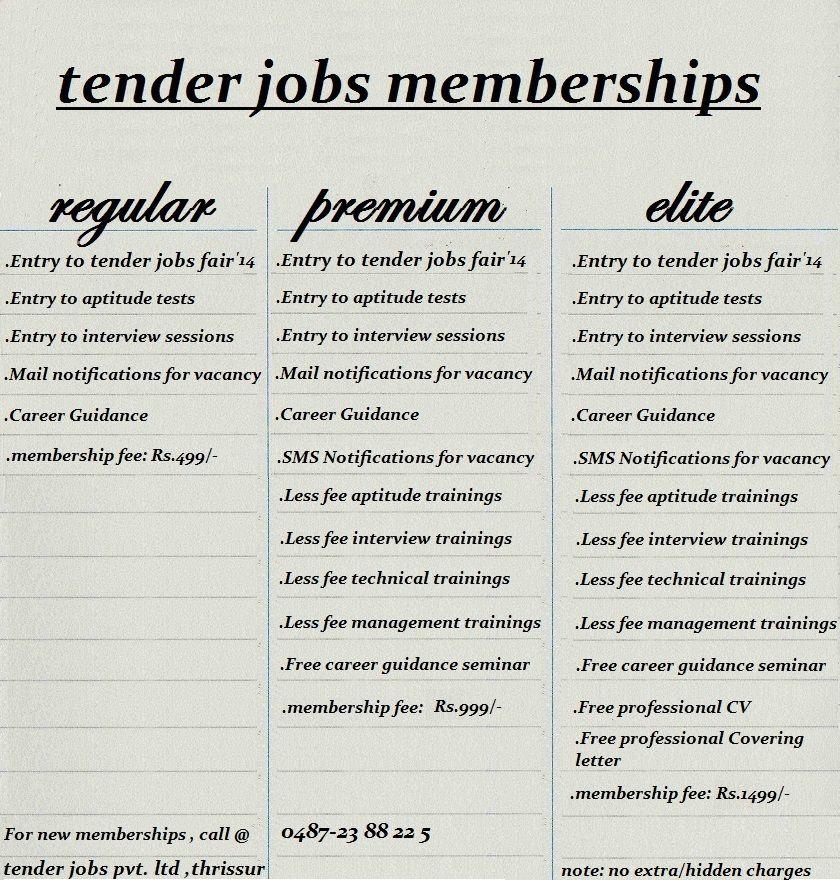 Various memberships offered by Tender Jobs | Tender Jobs