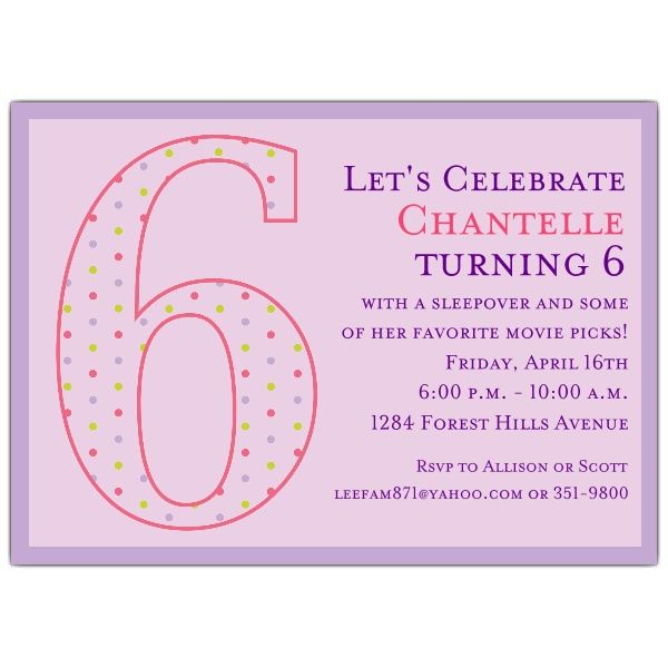 6th Birthday Girl Dots Invitations
