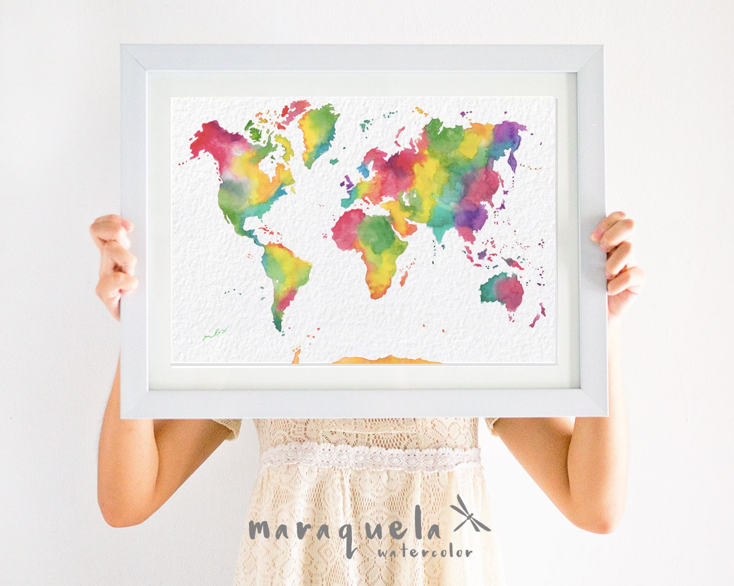 Original rainbow world map colorful watercolor painting watercolour original rainbow world map colorful watercolor painting watercolour decor gifts wedding gift gumiabroncs Gallery