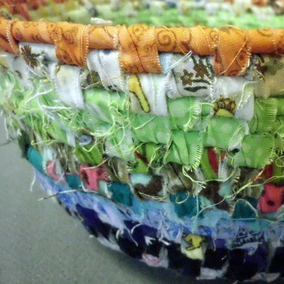 Coiled Rag Rug Instructions: Leftover Rainbow Coiled Fabric Basket