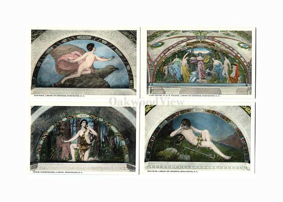 4 Library of Congress Vintage Postcards c1930s, Washington DC, Ganymede Comus etc, Antique Unused Ephemera, Lot 6, FREE SHIPPING $9.75