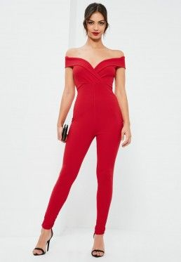 dd123e739d Red Wrap Bardot Jumpsuit