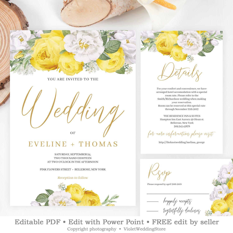 Bohemian Floral Wedding Invitation Set, Printable Yellow Floral