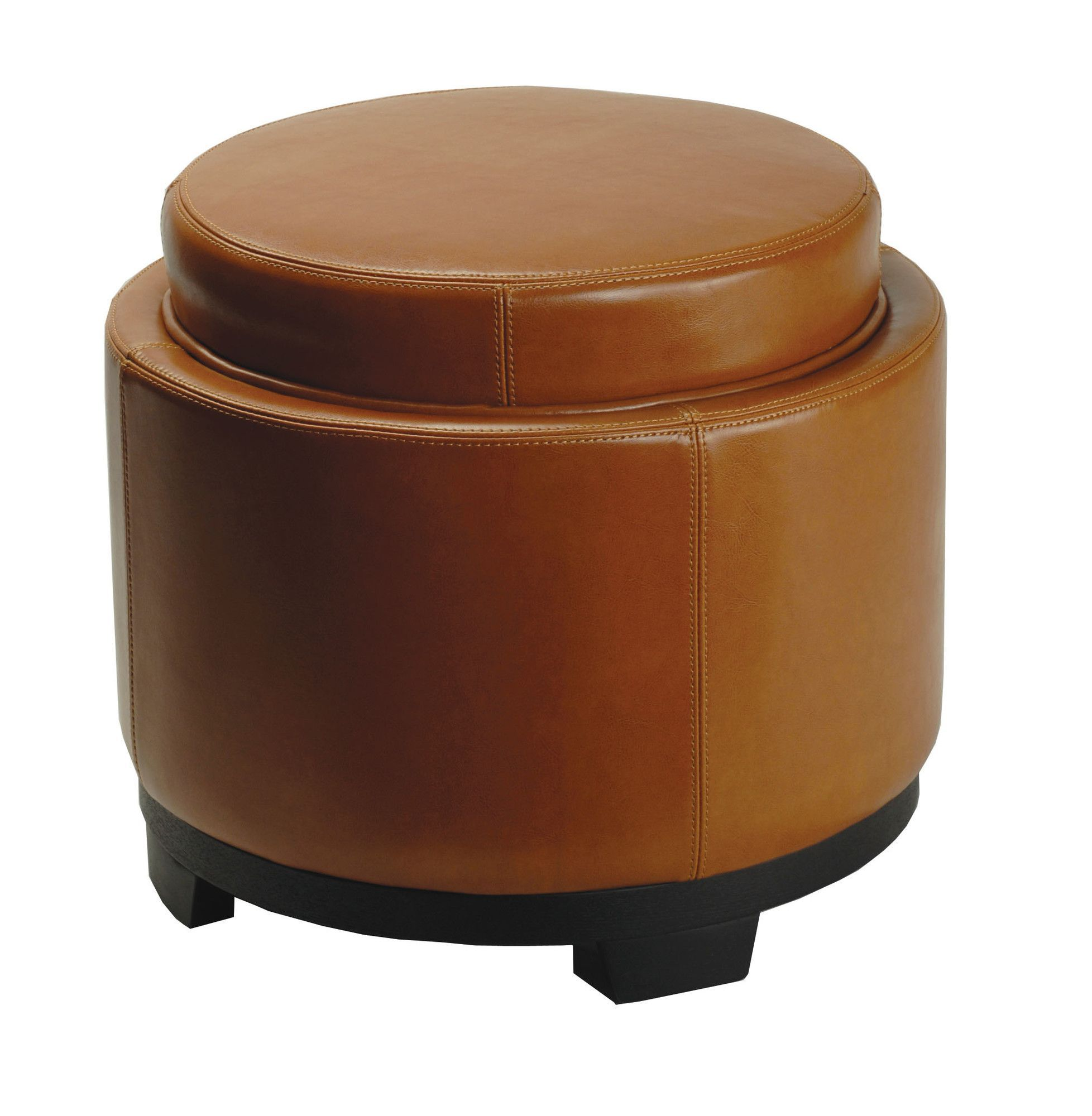 Round Cocktail Ottoman with Storage Tray in Saddle | Products ...