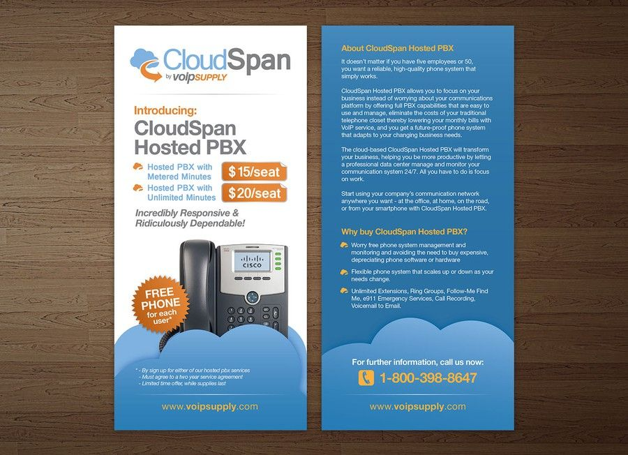Promotional Flyer For Hosted Pbx With Free Phone Giveaway By