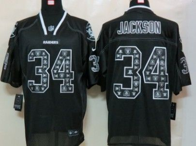 63e5dc5f7 france nike oakland raiders 34 bo jackson lights out black ornamented elite  jersey a408e b0497