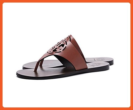 9a1997b04 Tory Burch Leather Cut Out Logo Zoey Thong Sandals - Cognac Cream Size 8.5  - Sandals for women ( Amazon Partner-Link)