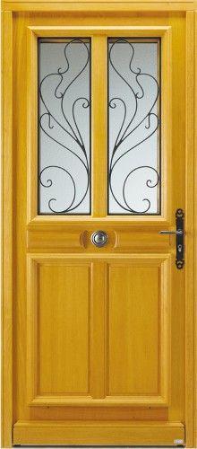 mod le al ria porte d 39 entr e bois classique mi vitr e mod les de portes grilles volutes. Black Bedroom Furniture Sets. Home Design Ideas