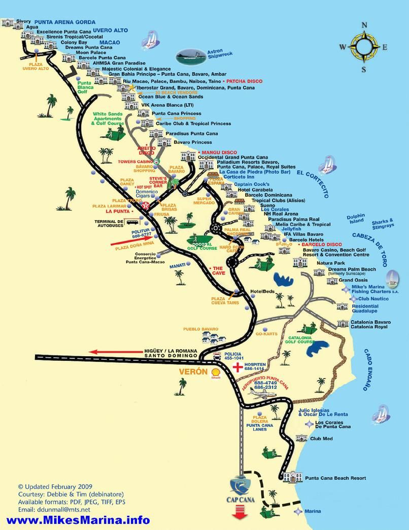 Map Of Punta Cana Hotels