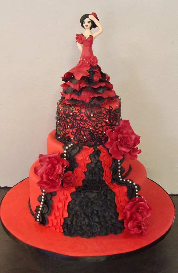 Strange Spanish Dancer Cake With Images Dancer Cake Cake Barbie Cake Funny Birthday Cards Online Inifodamsfinfo
