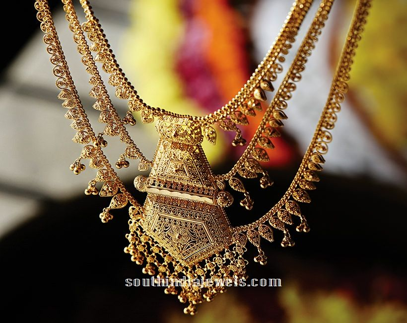 Multilayer Gold Necklace Design From Tanishq   Necklace designs ...