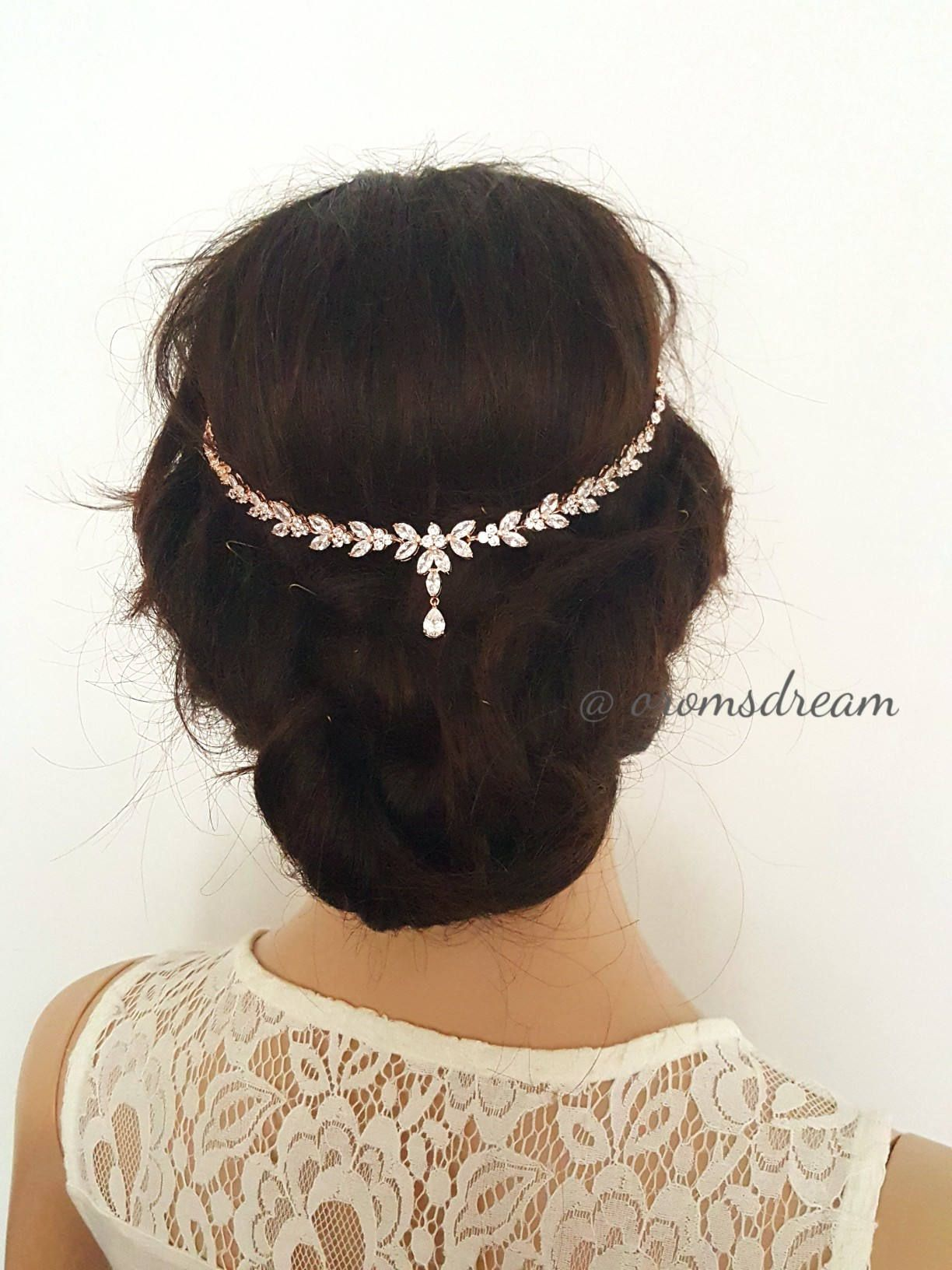 Rose gold crystal bridal headpiece crystal leaves drop headchain