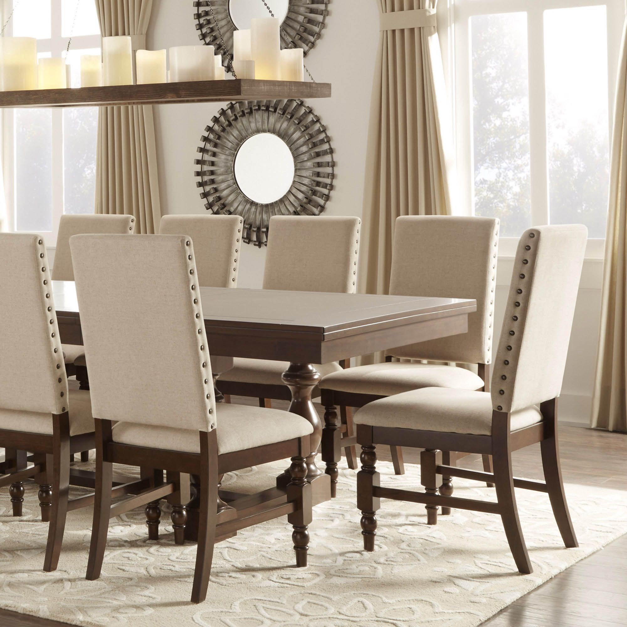 nailhead upholstered dining chair egg cover for sale tribecca home flatiron chairs set of 2 beige linen brown leather