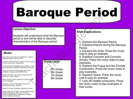 Music Worksheets - Word Search : Baroque Period