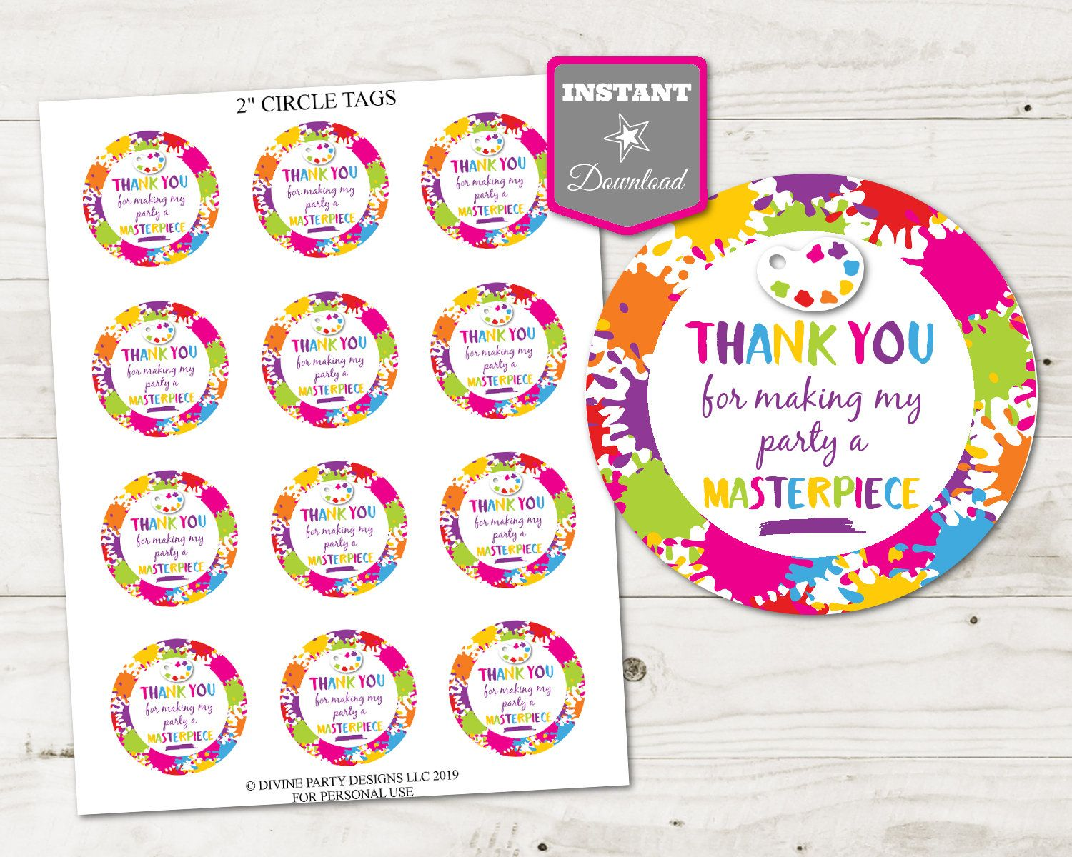 Instant Download Printable Art Painting Party 2 Circle Etsy Tag Art Art Party Invitations Art Party