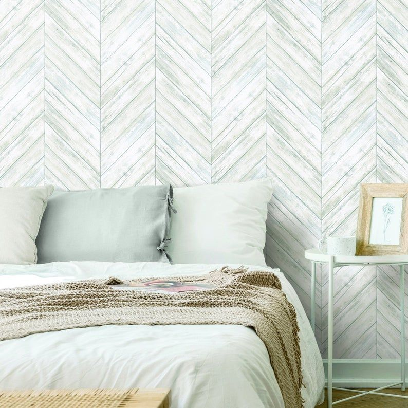 White Herringbone Wood Boards Peel And Stick Wallpaper Etsy Bedroom Wallpaper Accent Wall Accent Walls In Living Room Herringbone Wood