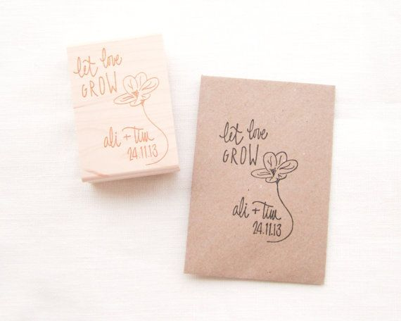 Custom Let Love Grow Wedding Favor Stamp